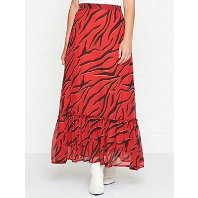 Gestuz Zebra Print Ruffle Midi Skirt - Red