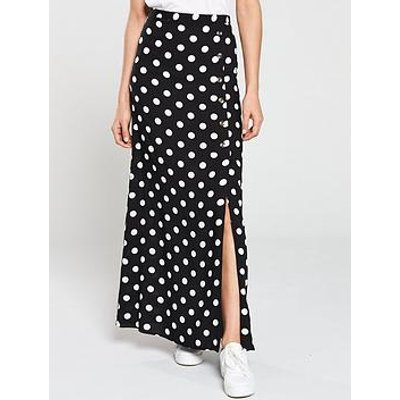 V By Very Button Side Spun Viscose Maxi Skirt - Polka Dot
