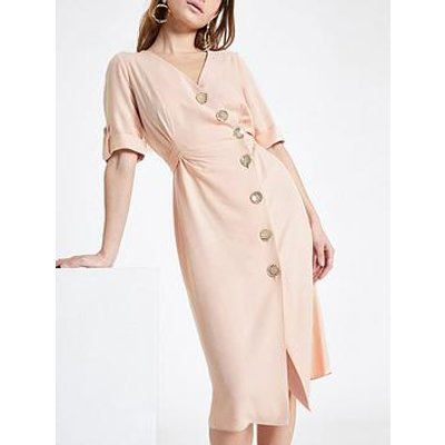 Ri Petite Ri Petite Button Detail Midi Dress - Blush