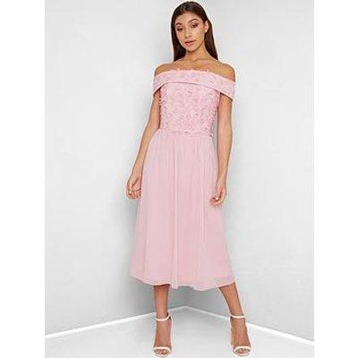 Chi Chi London Rox 3D Floral Bardot Midi Dress - Pink