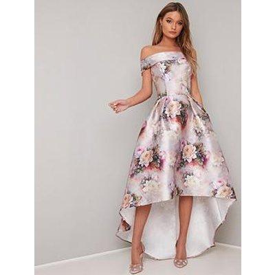 Chi Chi London Gail Printed Bardot High Low Dress