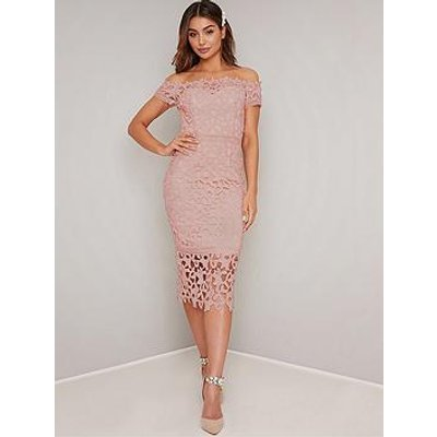 Chi Chi London Victoire Bardot Lace Midi Dress - Pink