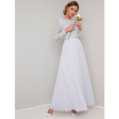 Chi Chi London Kaylee Long Sleeve Lace Top Maxi Dress - Grey