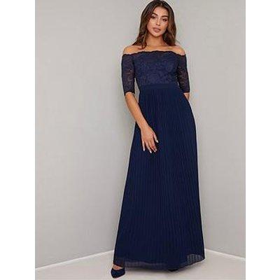 Chi Chi London Ellory Lace Bardot Maxi Dress - Navy