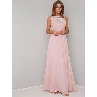 Chi Chi London Esra Lace Top Maxi Dress - Mink