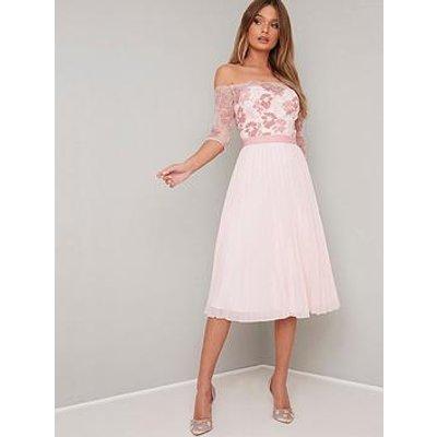 Chi Chi London Selda Lace Bardot Midi Dress - Pink