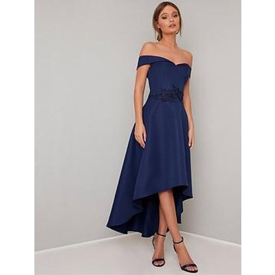 Chi Chi London Amour Bardot High Low Dress - Navy