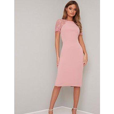 Chi Chi London Shannon Lace Back Detail Midi Dress - Pink