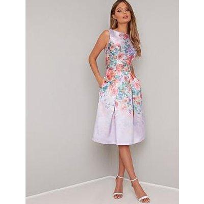 Chi Chi London Alodie Printed Midi Dress - Lilac