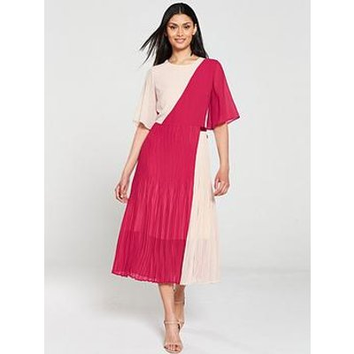 Hugo Kirana Colour Block Pleated Dress - Pink