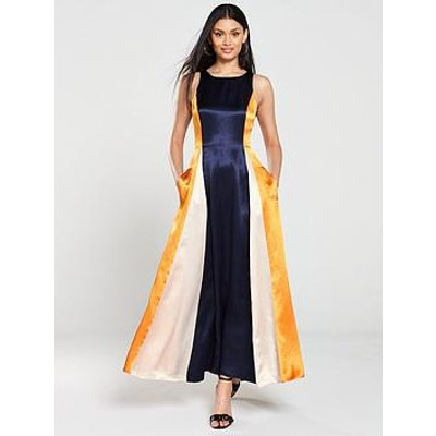 Hugo Kanisi Colour Block Maxi Dress - Navy/Orange