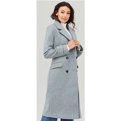 Michelle Keegan Double Breasted Longline Coat - Grey