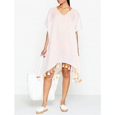 Seafolly Striped Linen Kaftan - Pink