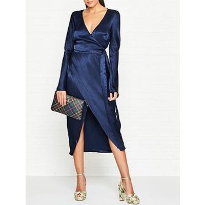 Bec & Bridge Sylvie Wrap Satin Midi Dress - Navy