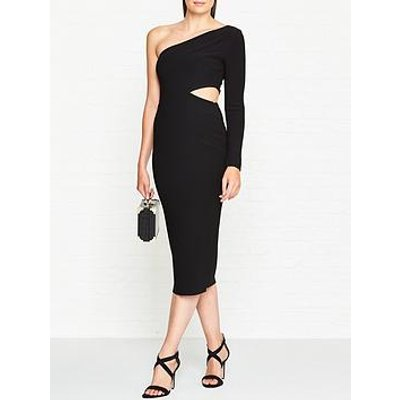 Bec & Bridge Elke One Shoulder Cut-Out Midi Dress - Black