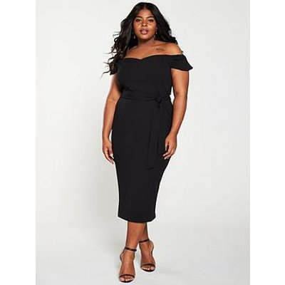 V By Very Curve Bardot Pencil Dress - Black