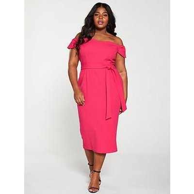 V By Very Curve Bardot Pencil Dress - Pink