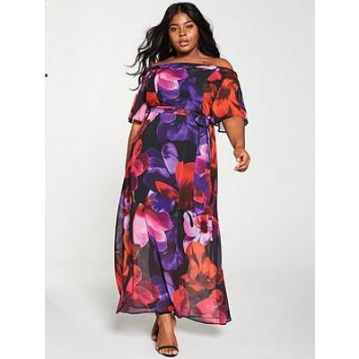 V By Very Curve Floral Bardot Maxi Dress - Multi