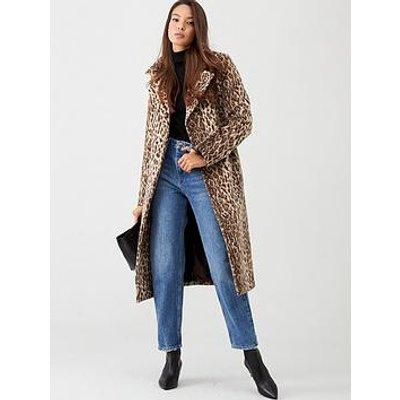 V By Very Animal Print Wrap Coat - Leopard Print