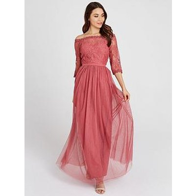 Little Mistress Mesh Top Bardot Maxi Dress - Blush