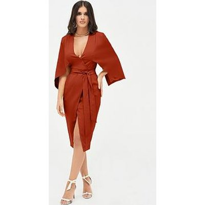 Lavish Alice Cape Midi Wrap Dress - Dark Rust