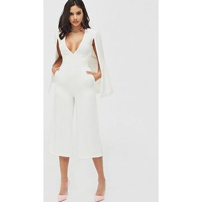 Lavish Alice Culotte Leg Cape Jumpsuit - White
