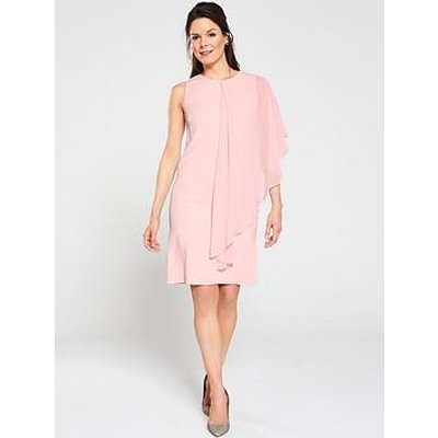 Gina Bacconi Aletta Moss Crepe And Chiffon One Sleeve Dress - Pink