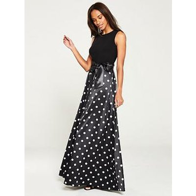 Gina Bacconi Ilythia Satin Polka Dot Maxi Dress - Black