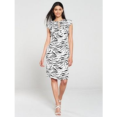 Gina Bacconi Minako Zebra Print Pencil Dress - White/Black