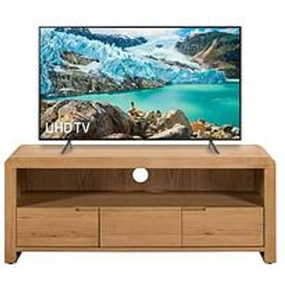 Julian Bowen Newman Curve Ready Assembled Solid Oak And Oak Veneer Tv Unit