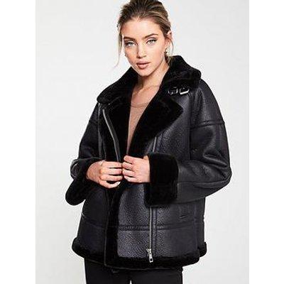 Whistles Faux Fur Aviator Jacket - Black