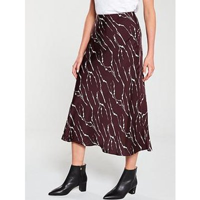 Whistles Twig Print Bias Skirt - Burgundy