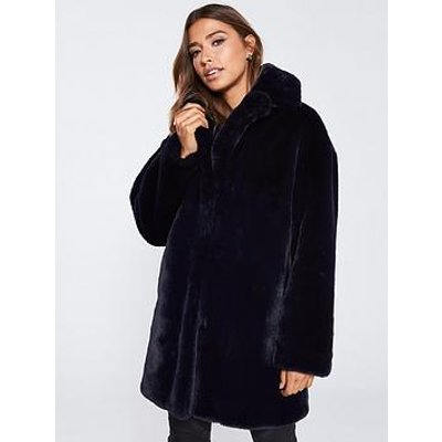 Whistles Frankie Faux Fur Coat - Navy