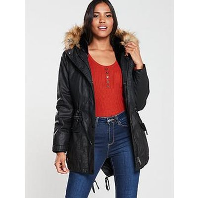 Whistles Willow Faux Fur Hooded Waxy Parka - Black