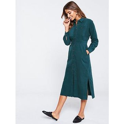Whistles Romaine Cord Shirt Dress - Teal