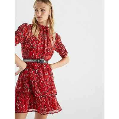 V By Very Ruched Sleeve Tea Dress - Print