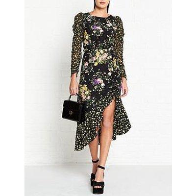 For Love & Lemons Ross Floral Print Midi Dress - Black