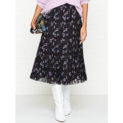 Kenzo Passion Flower Print Pleated Midi Skirt - Black