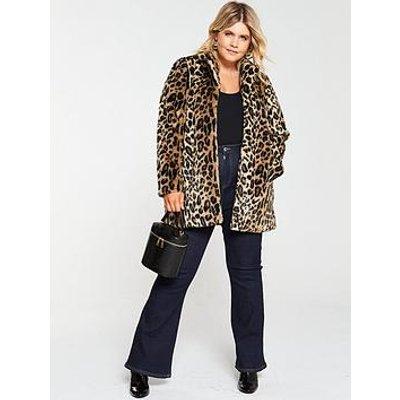 Junarose Curve Gao Faux Fur Leopard Jacket - Animal