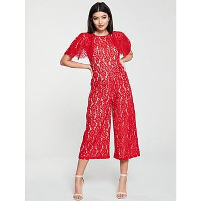 U Collection Forever Unique Cape Sleeve Lace Jumpsuit - Red