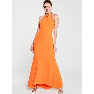 Karen Millen Chain Detail Maxi Dress - Orange