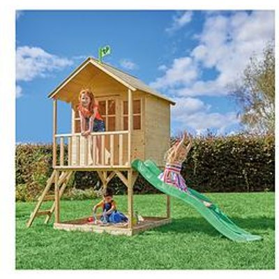 Tp Hill Top Wooden Tower Playhouse With Slide