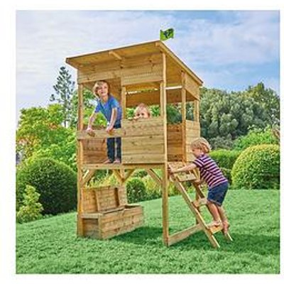 Tp Tree Tops Wooden Playhouse With Toy Box