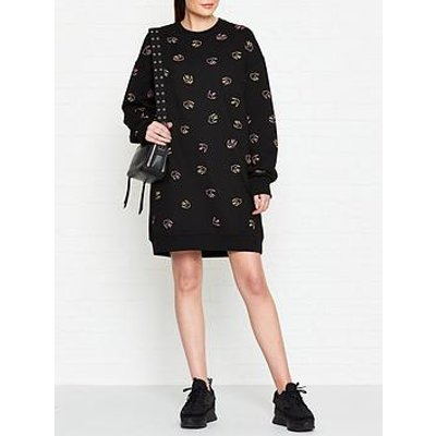Mcq Alexander Mcqueen Swallow Print Sweat Dress - Black