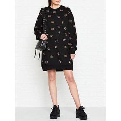Mcq Alexander Mcqueen Swallow Print Sweat Dress - Black