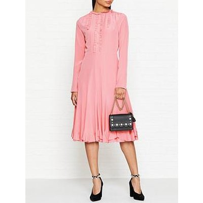 Mcq Alexander Mcqueen Ruffle Trim Long Sleeve Midi Dress - Pink