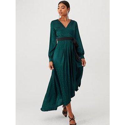 Little Mistress Polka Dot Asymmetric Maxi Wrap Dress - Green