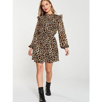 V By Very Leopard Shirred Yoke Tea Dress - Print