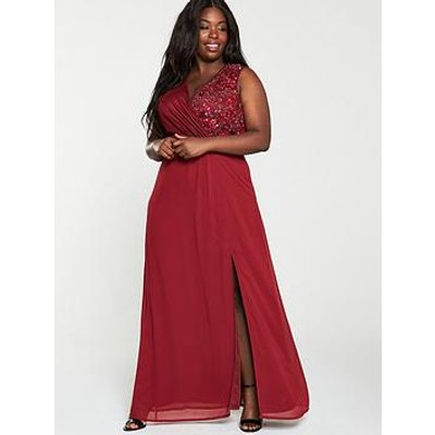 Little Mistress Curve Embellished Wrap Maxi Dress - Berry