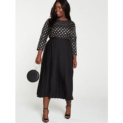 Little Mistress Curve Black Geo Embroidery Midi Dress - Black
